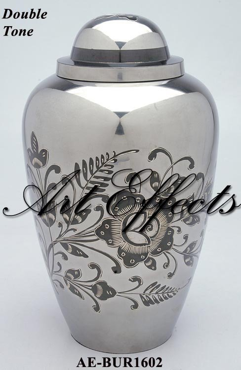 Floral White Steel Brass Cremation Urn for Ashes